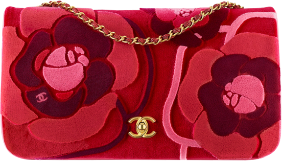 Chanel Flap Bag Camelia Embroidered Red/Pink