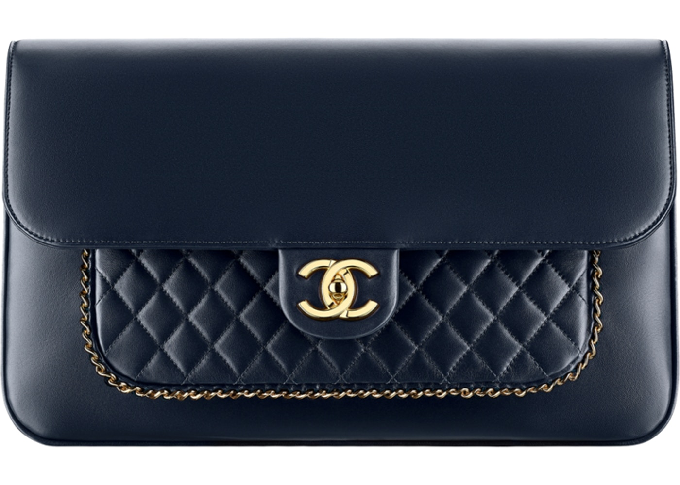 a9aee82353c1 Chanel Flap Clutch Diamond metiers d art Quilted Navy Blue