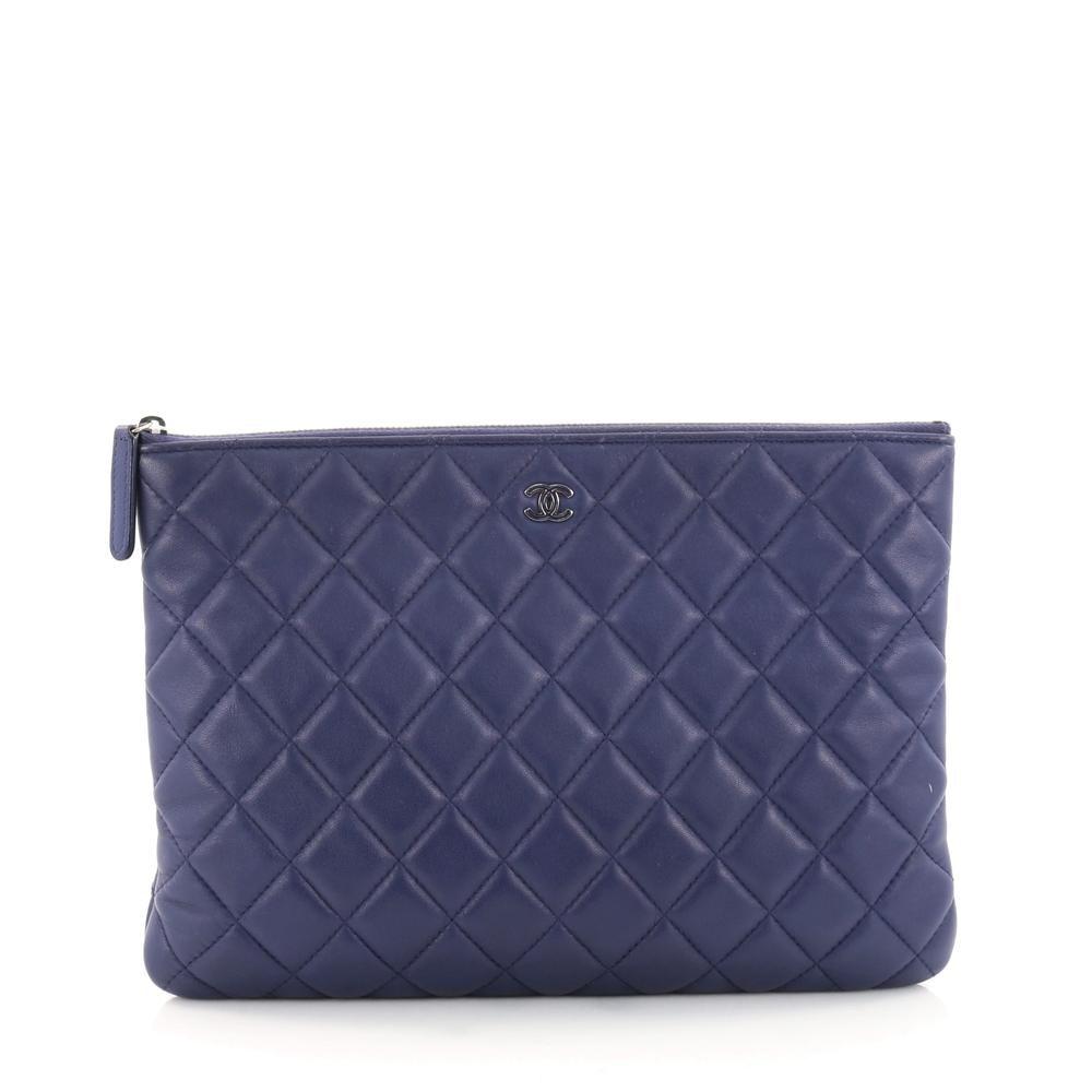 Chanel O Case Clutch Quilted Diamond Medium Royal Blue