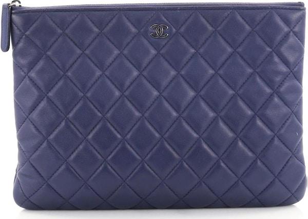 0794ba23ce9b Chanel O Case Clutch Quilted Diamond Medium Royal Blue