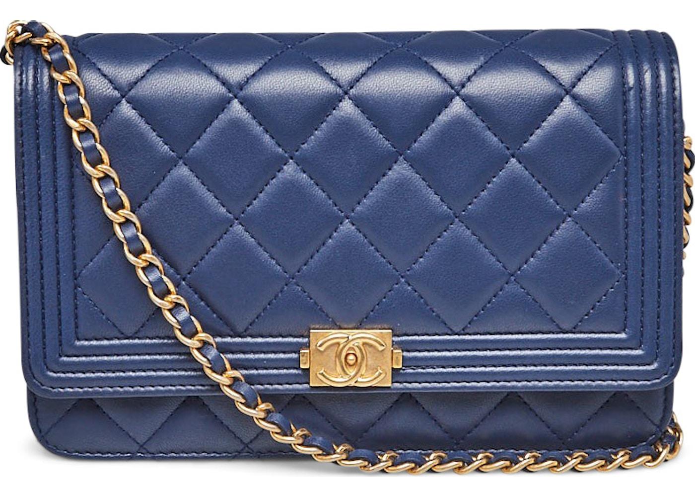3580f14ef71d Chanel Wallet On Chain Boy Clutch Quilted Diamond Marine Blue. Quilted  Diamond Marine Blue
