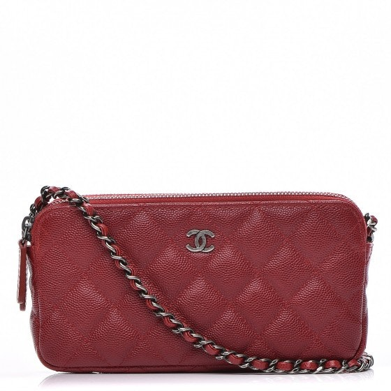 Chanel Clutch With Chain Quilted Diamond Small Red