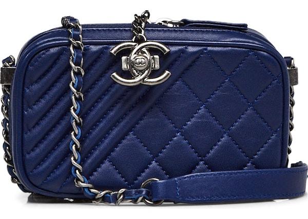 dd091fe0811c3a Chanel Coco Boy Camera Bag Quilted Chevron Small Blue