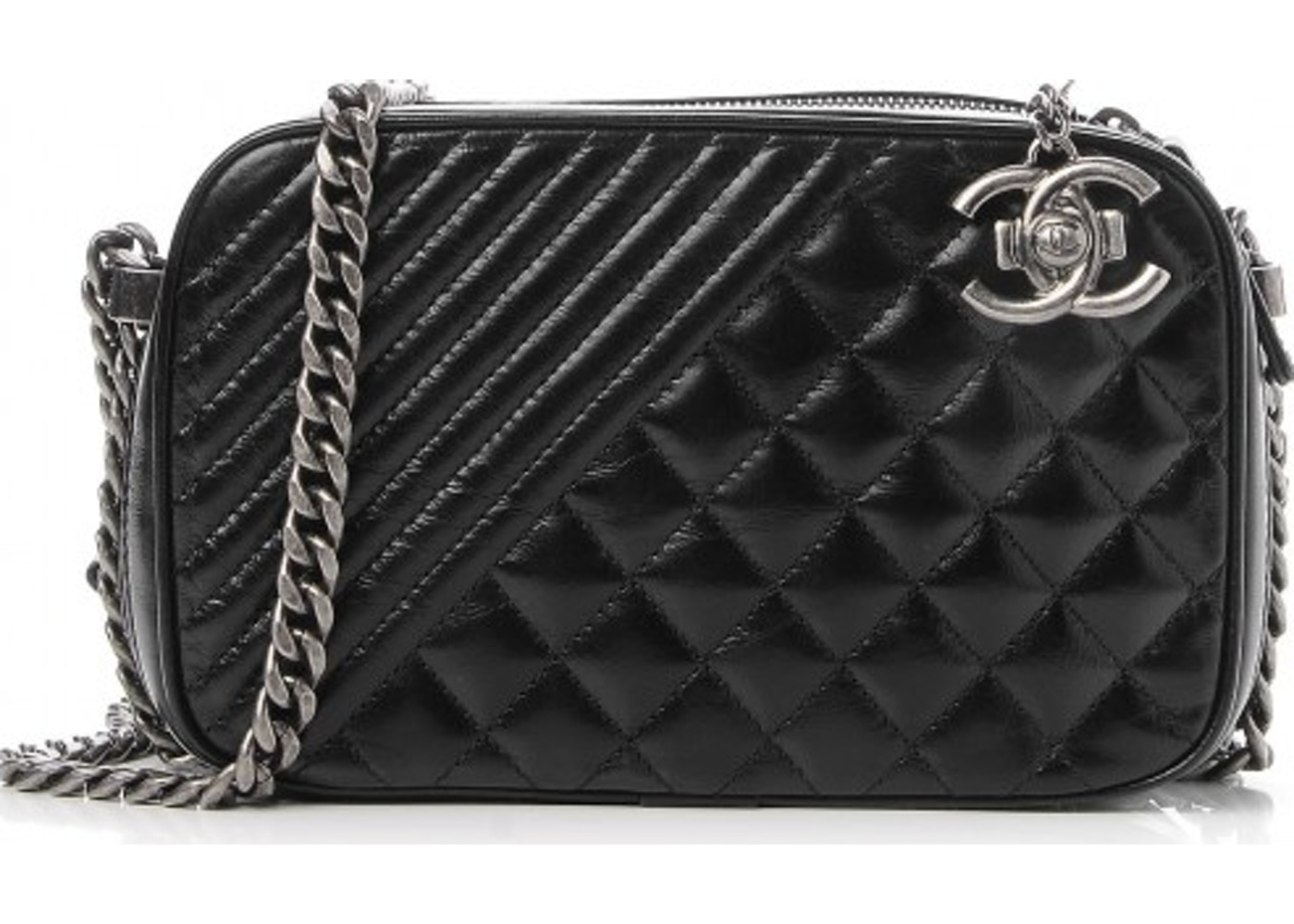 dfc55d8bf789ad Chanel Coco Boy Camera Case Quilted Diagonal/Diamond Glazed Small Black.  Quilted Diagonal/Diamond Glazed Small Black