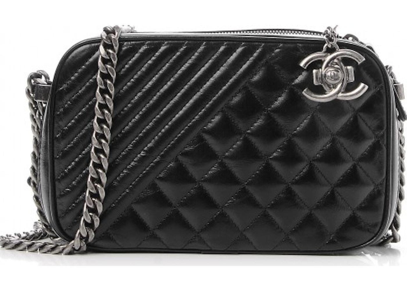 dcd171627c6c Chanel Coco Boy Camera Case Quilted Diagonal/Diamond Glazed ...