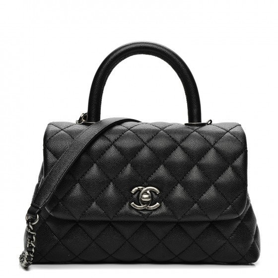 Chanel Coco Handle Bag Quilted Grained Mini Black