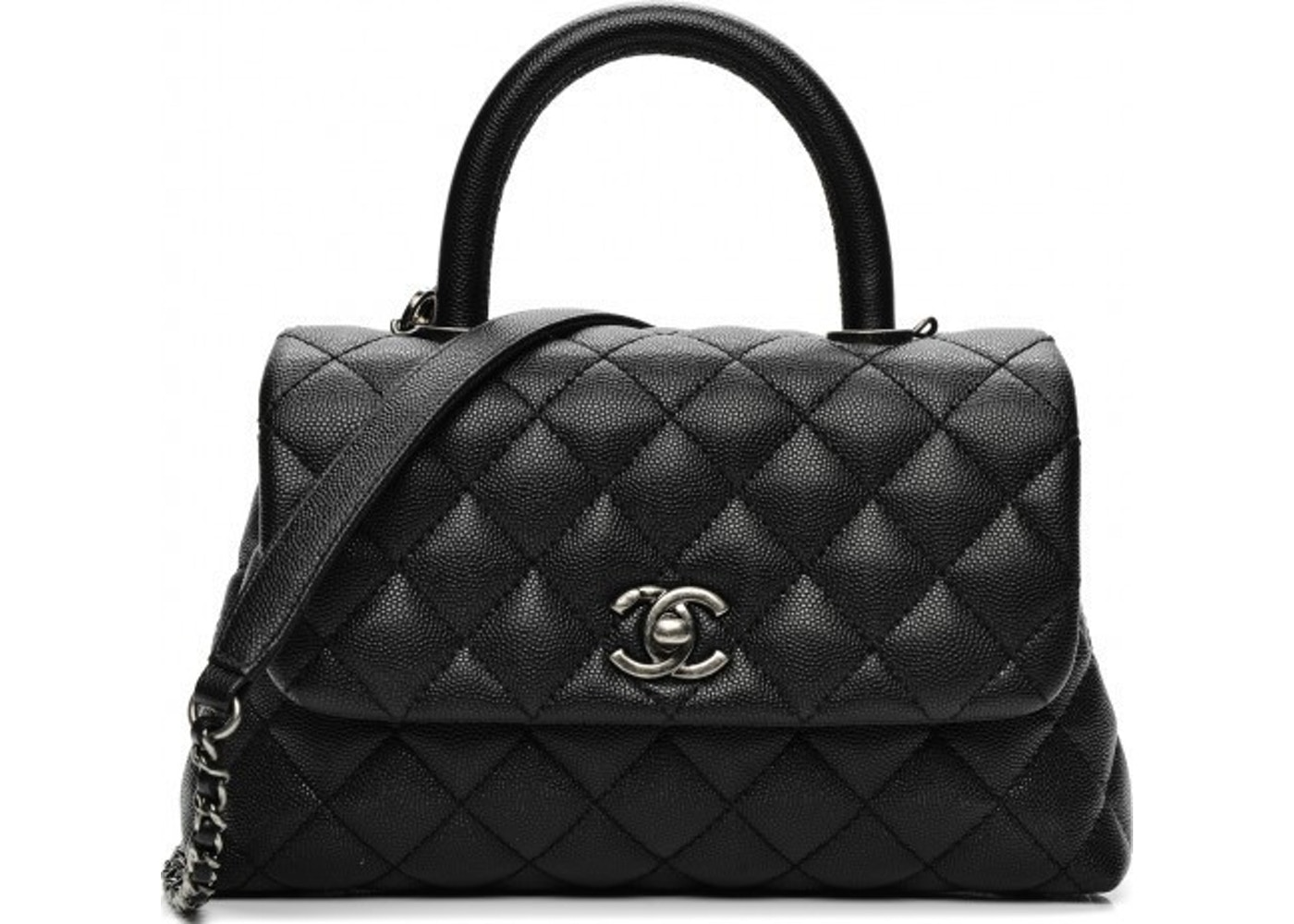 eac744c08fff16 Chanel Coco Handle Bag Quilted Grained Mini Black. Quilted Grained Mini  Black