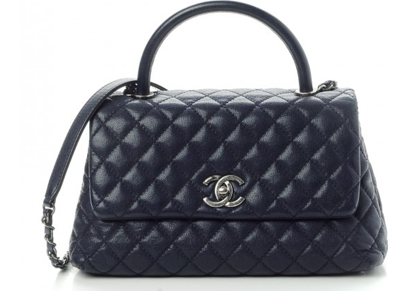 9db6f0ebd338fe Chanel Coco Handle Flap Quilted Diamond Small Navy Blue
