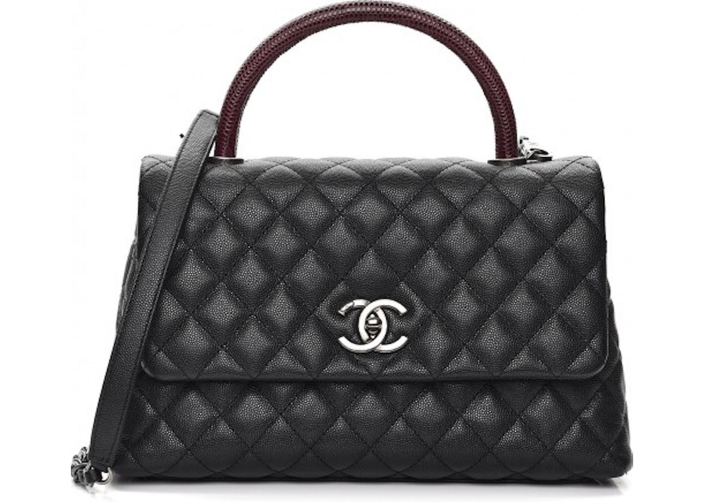 fc4000e3caff8f Chanel Coco Handle Small Black Leather Lizard. Black Leather Lizard