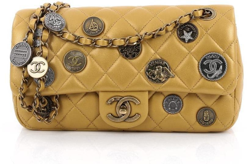 Chanel Medallion Flap Diamond Quilted Medium Gold