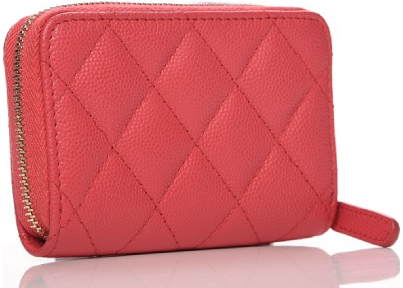 3b10fa8815fe Chanel Zip Around Coin Purse Diamond Quilted Dark Pink