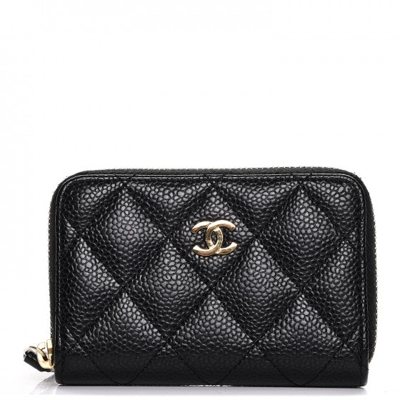 Chanel Zip Coin Purse Quilted Diamond Black