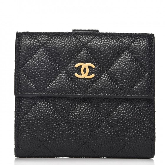 Chanel Compact French Flap Wallet Quilted Diamond Black
