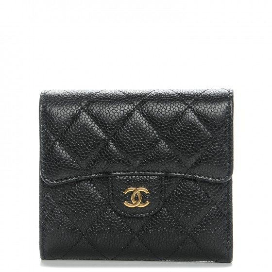 Chanel Flap Compact Wallet Diamond Quilted Black