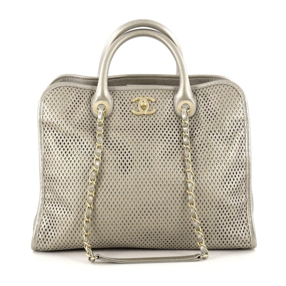Chanel Up In The Air Convertible Tote Perforated Metallic Silver