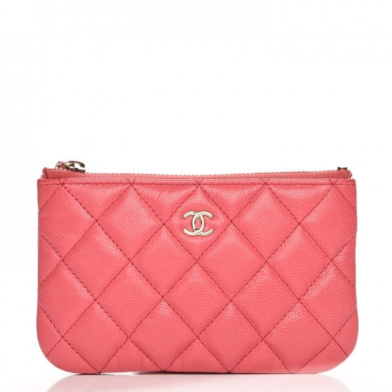 Chanel Cosmetic Case Diamond Quilted Small Dark Pink