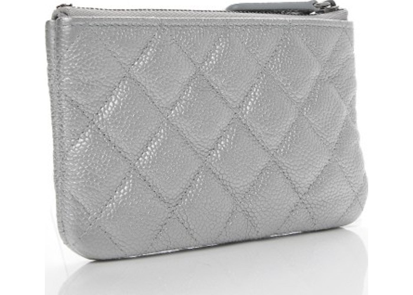 4ca1e5487a3427 Chanel Cosmetic Case Quilted Diamond Metallic Small Silver