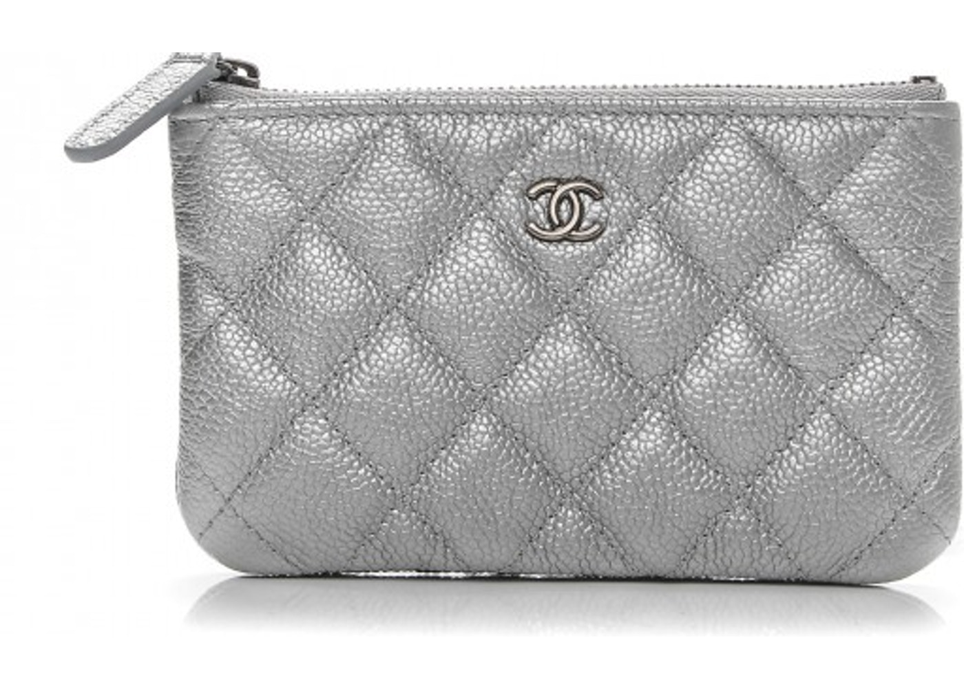 ee2fef6259d783 Chanel Cosmetic Case Quilted Diamond Metallic Small Silver. Quilted Diamond Metallic  Small Silver