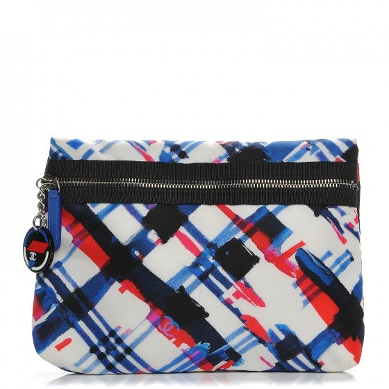 Chanel Airlines Cosmetic Pouch White/Blue/Red/Black