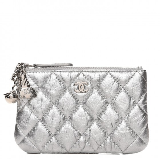 Chanel Cosmo O Case Quilted Small Metallic Silver