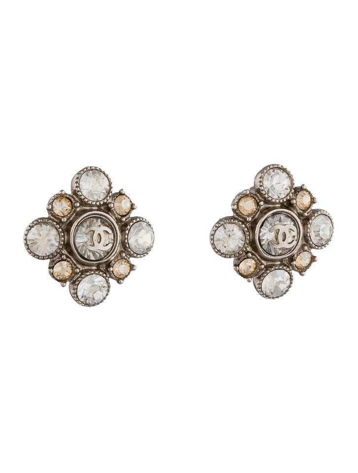 Chanel Crystal Cluster Baroque Square Stud Earrings Silver-tone Clear Amber