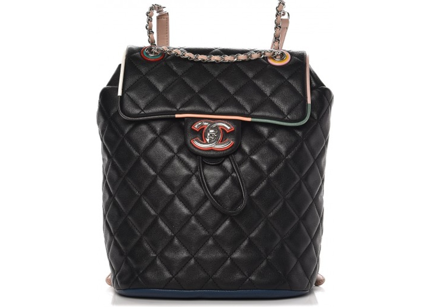 248f378cc937 Chanel Cuba Urban Spirit Backpack Quilted Diamond Multicolor Small  Black Orange Pink. Quilted Diamond Multicolor Small Black Orange Pink