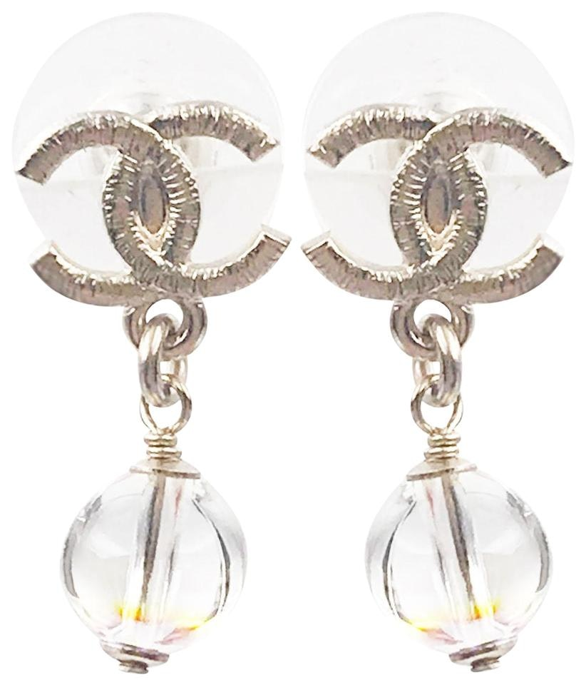 Chanel Dangle Bead Earrings Iridescent