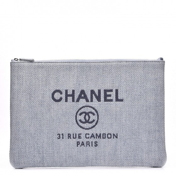 Chanel Deauville Pouch Large Blue