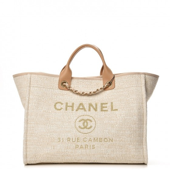 Chanel Deauville Tote Large Light Beige