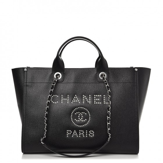 Chanel Deauville Tote Studded Medium Black