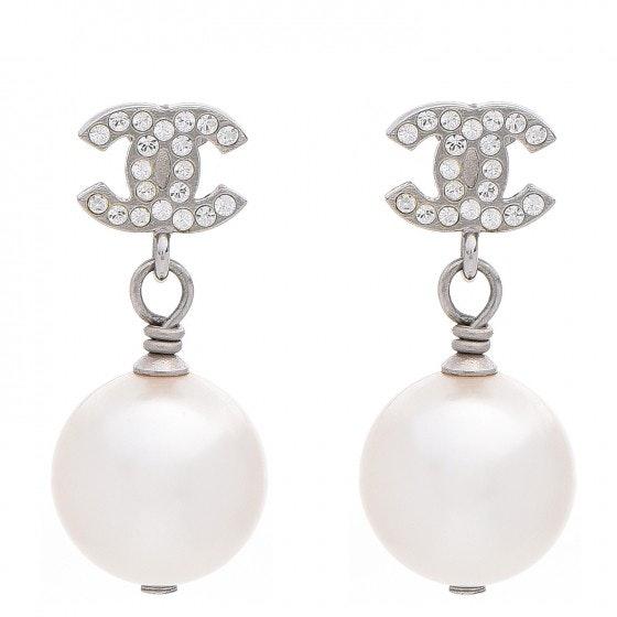 Chanel CC Drop Earrings Crystal Pearl
