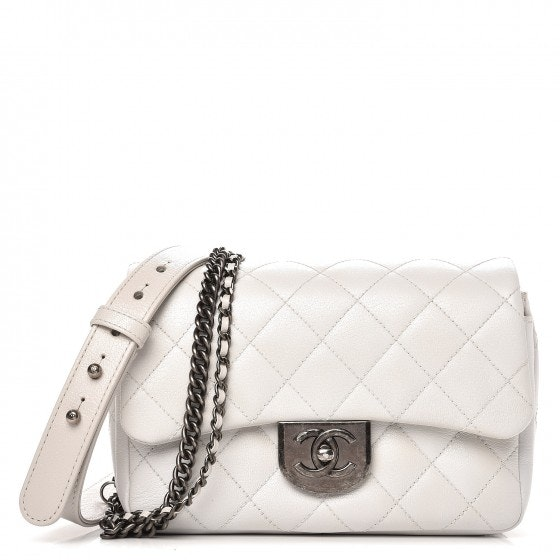 Chanel Double Carry Waist Chain Flap Quilted Diamond Shiny Small White