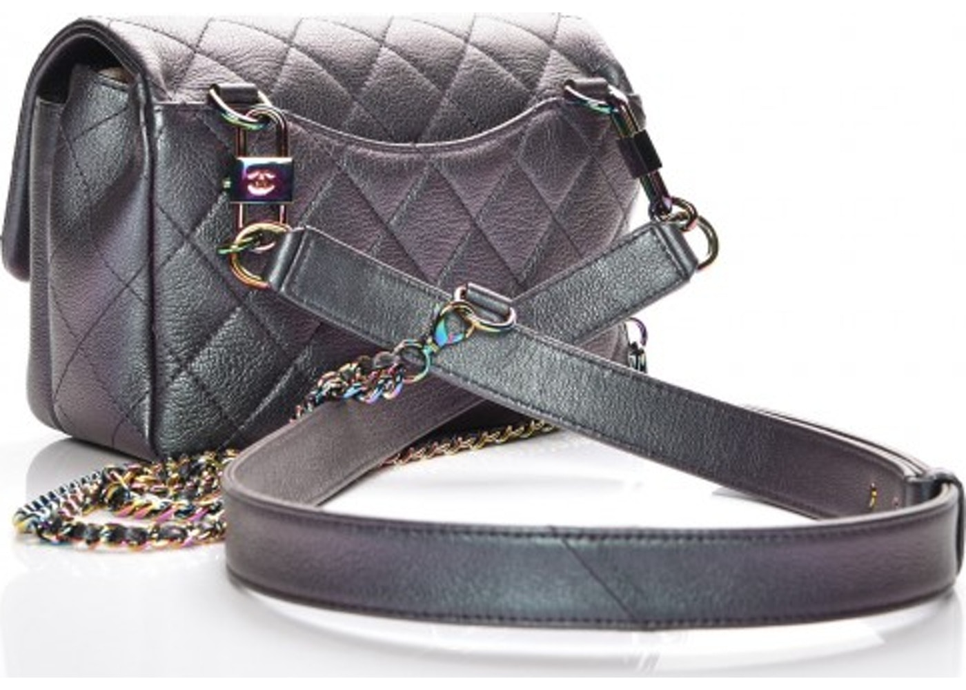 f99c9b5f65a4 Chanel Carry Waist Chain Double Flap Quilted Diamond Iridescent Small Purple