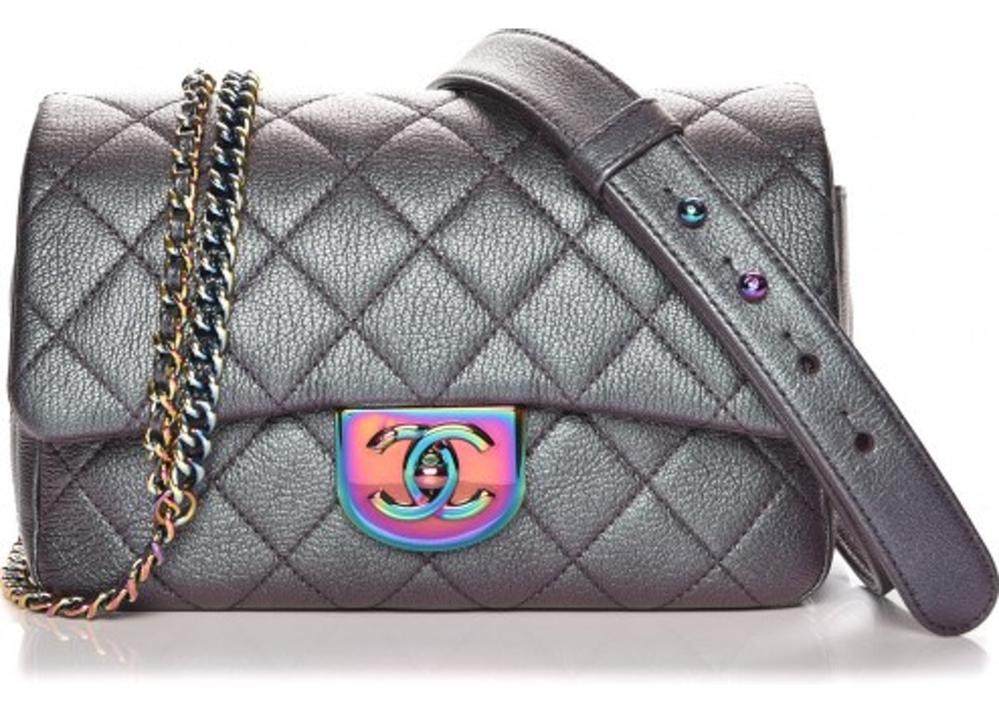 cfb84d433e0f Chanel Carry Waist Chain Double Flap Quilted Diamond Iridescent Small Purple.  Quilted Diamond Iridescent Small Purple