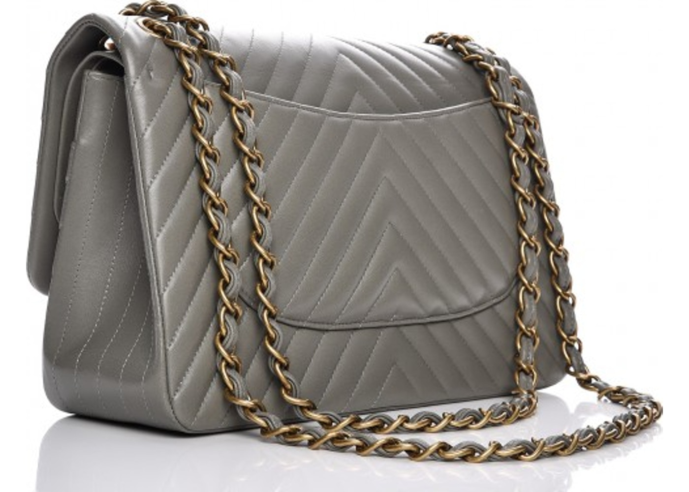 29891cfffc74 Chanel Double Flap Chevron Quilted Jumbo Grey