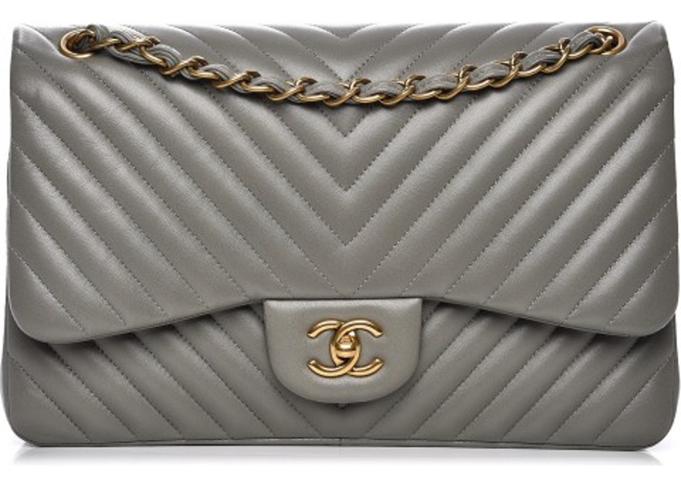 58bccb3c9af1 Chanel Double Flap Chevron Quilted Jumbo Grey. Chevron Quilted Jumbo Grey