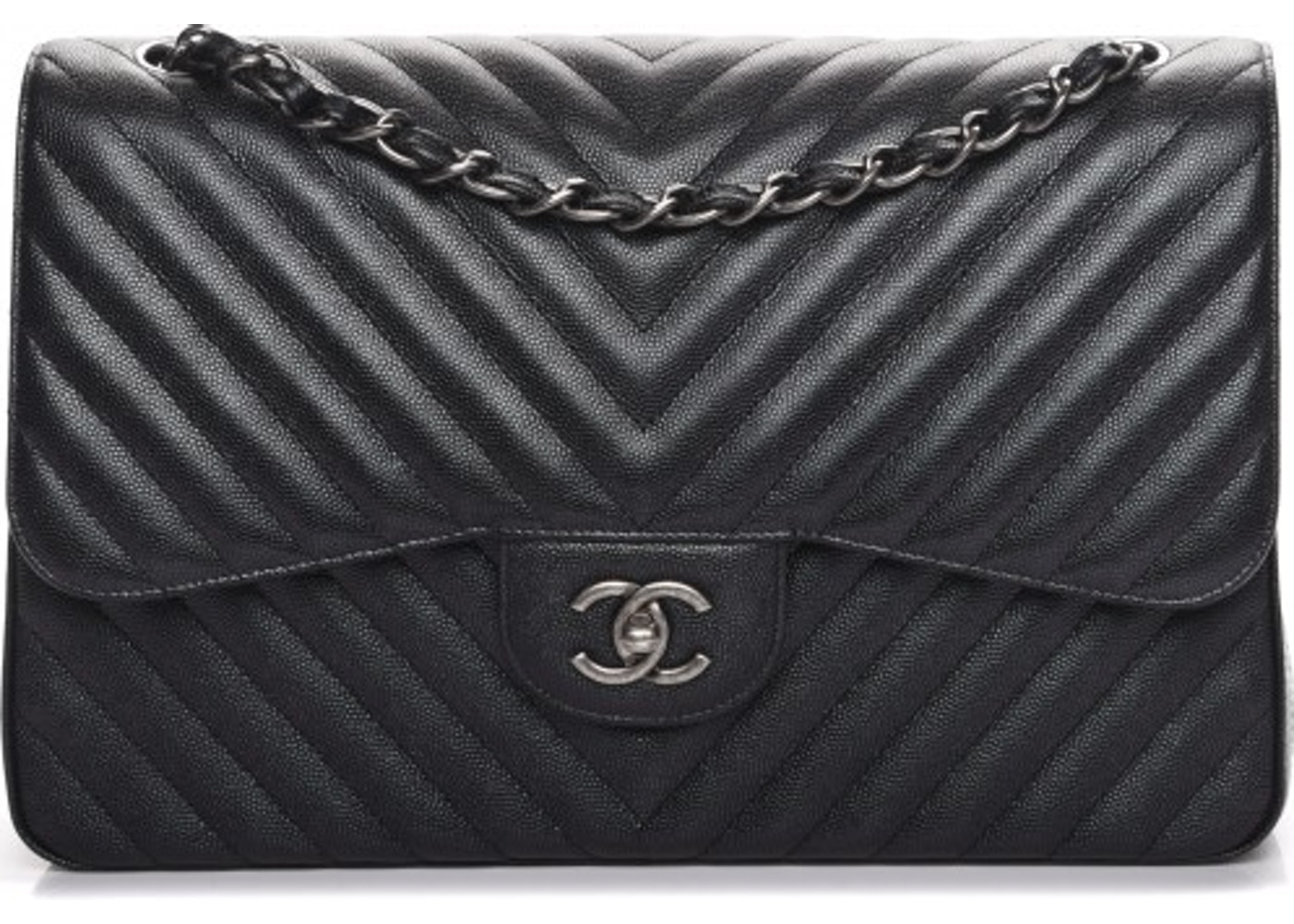 74c4f00587e3 Chanel Double Flap Chevron Quilted Metallic Jumbo Black. Chevron Quilted  Metallic Jumbo Black