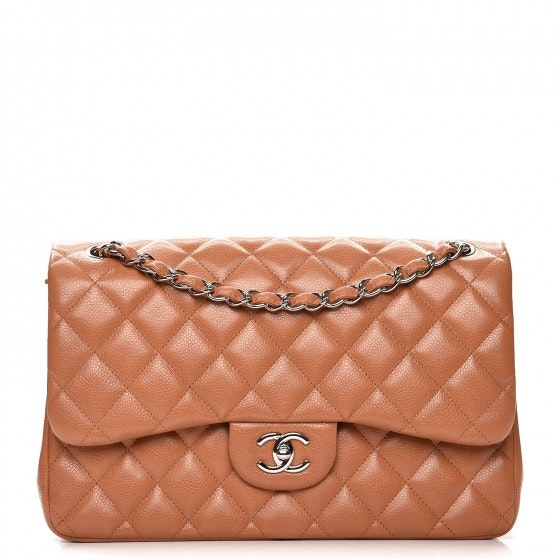 Chanel Double Flap Quilted Diamond Jumbo Light Brown