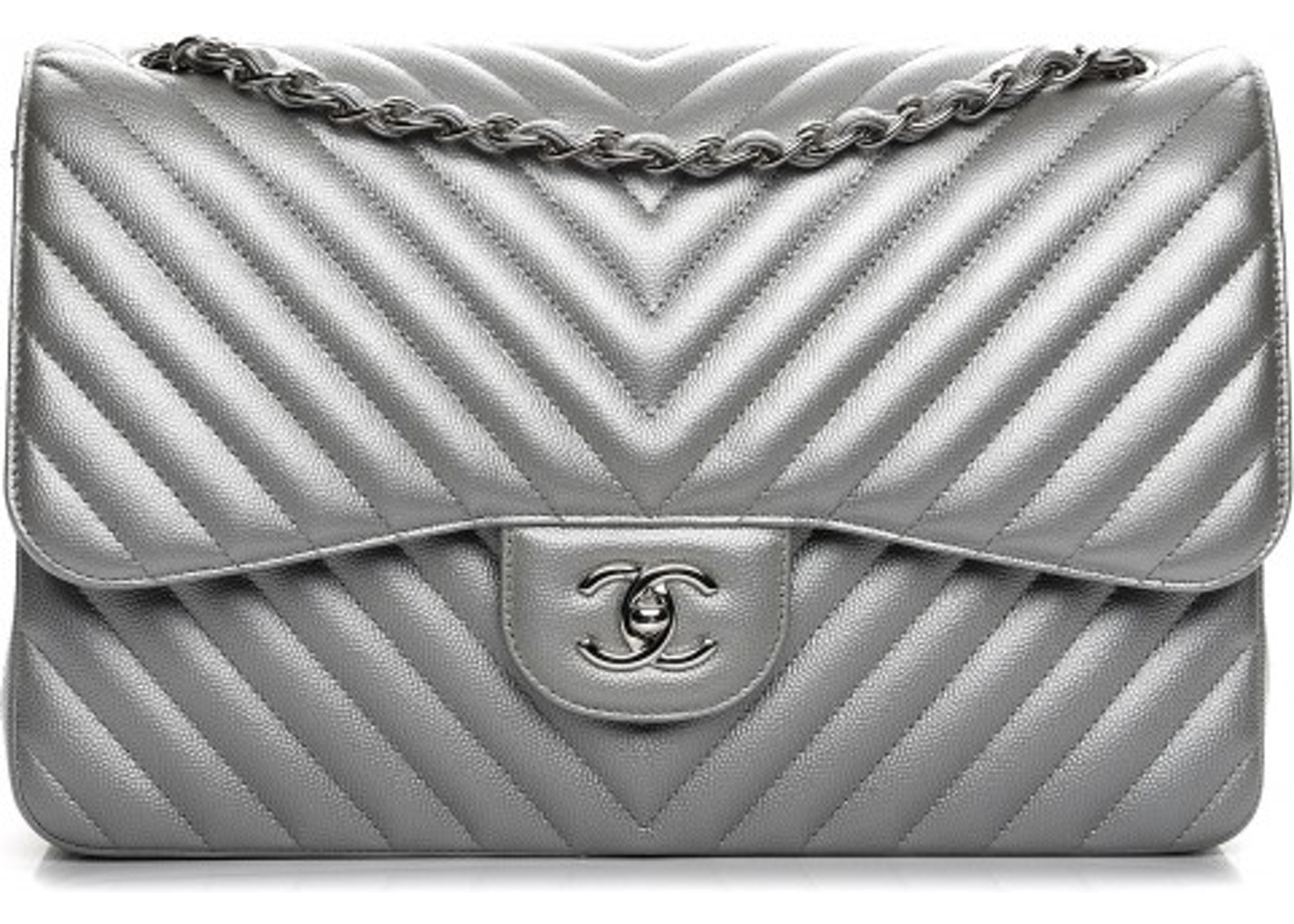 eb62a67c116e Chanel Double Flap Quilted Chevron Metallic Jumbo Silver. Quilted Chevron  Metallic Jumbo Silver
