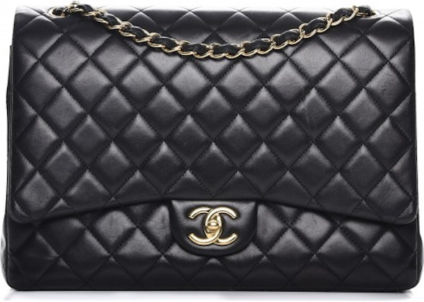 d65df93808b8 Chanel Double Flap Quilted Diamond Maxi Black