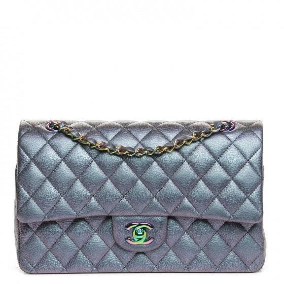 Chanel Double Flap Quilted Diamond Iridescent Medium Purple