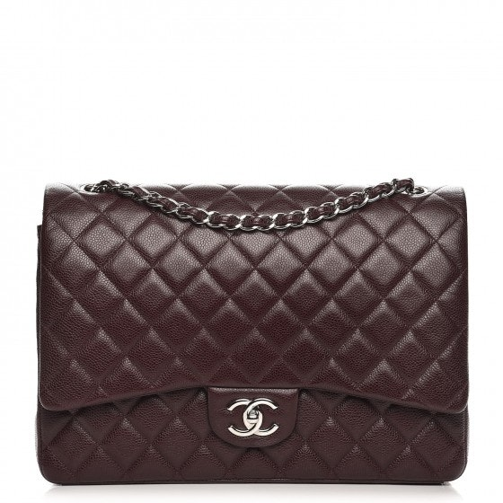 Chanel Double Flap Quilted Diamond Maxi Dark Purple