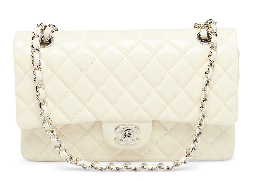 Chanel Double Flap Quilted Diamond Medium White