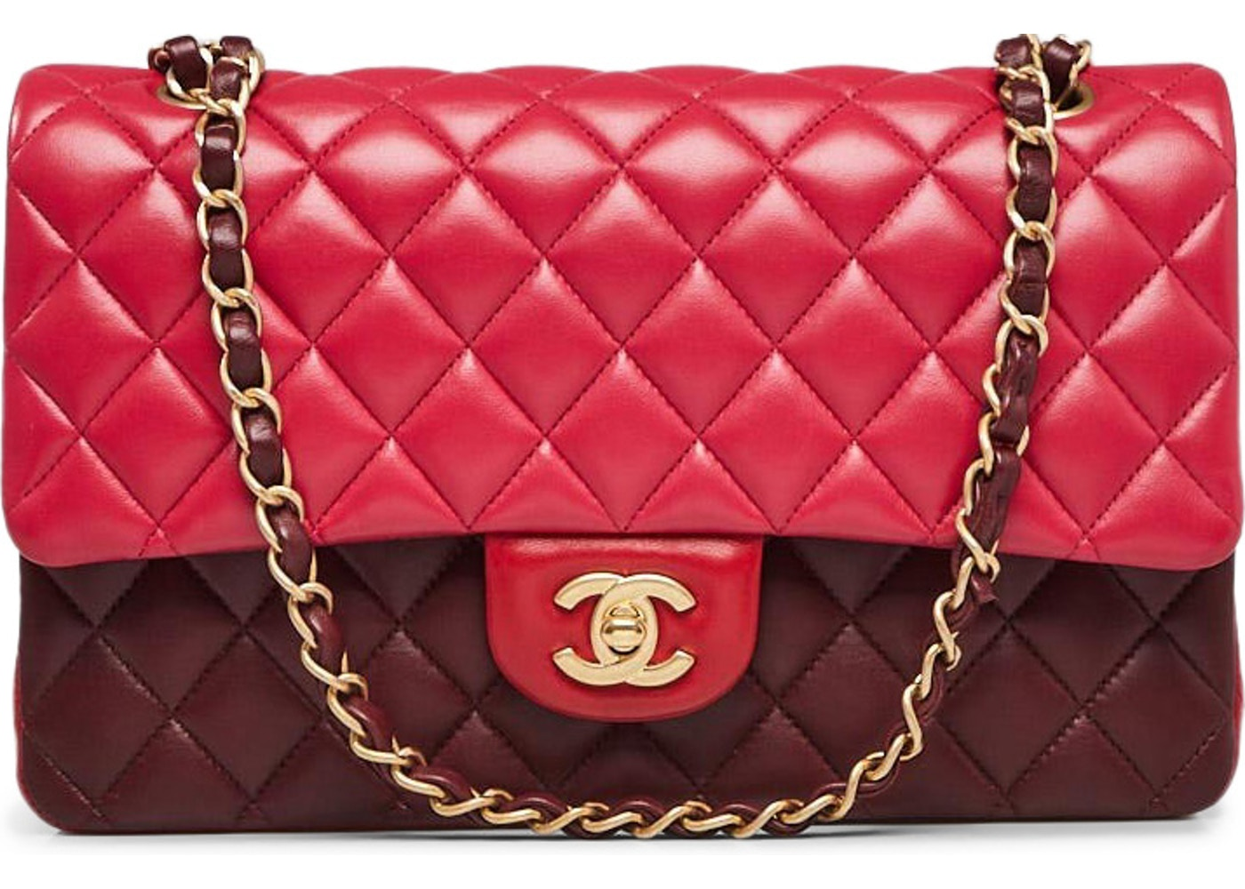 0cd580099ccd7d Chanel Double Flap Quilted Diamond Tri-Color Medium Red. Quilted Diamond Tri -Color Medium Red