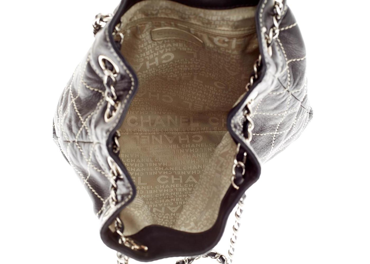 b1c55f4c45a2 Chanel Surpique Stitch Drawstring Bucket Quilted Diamond Large Black