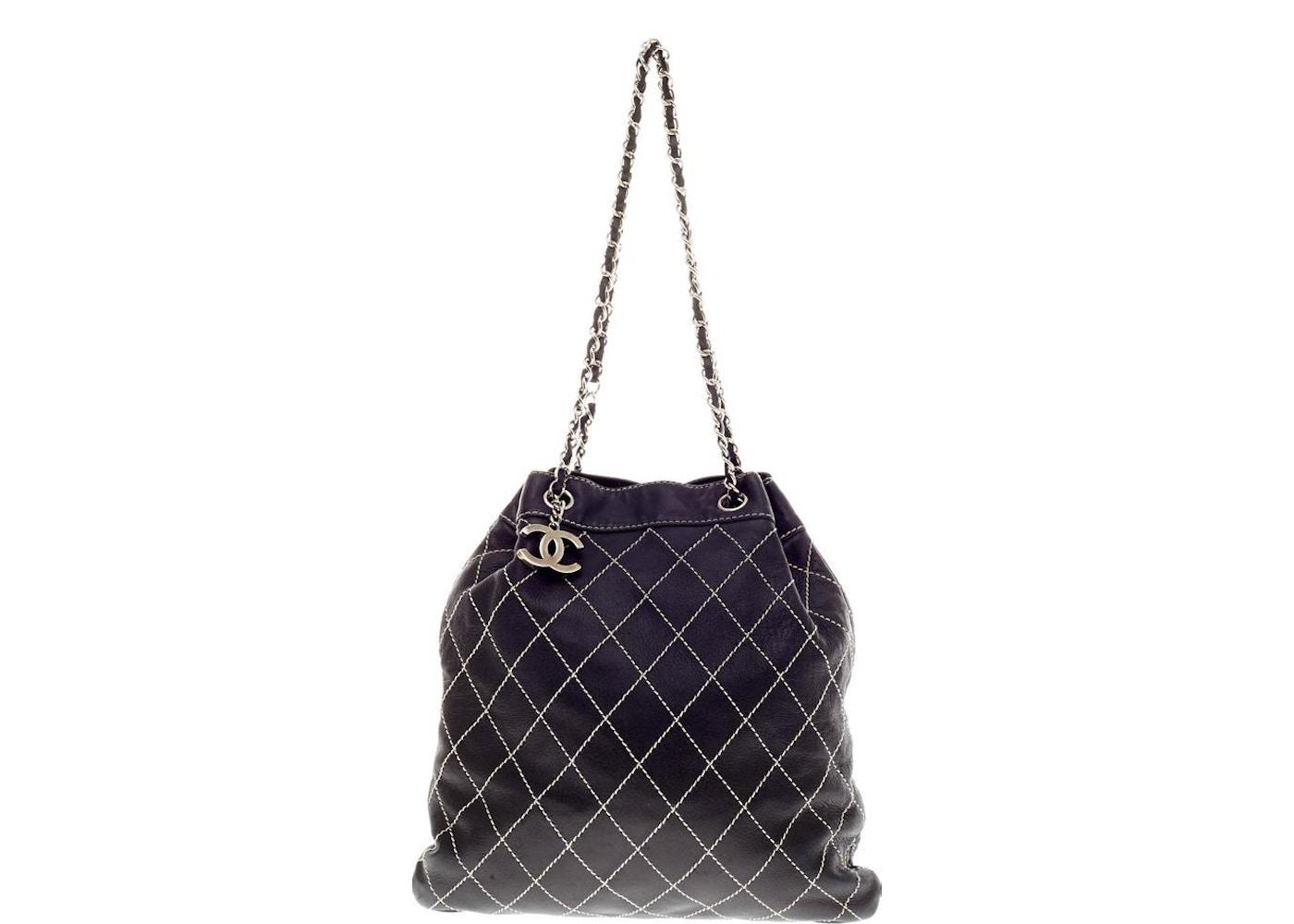 8ef241c16191 Chanel Surpique Stitch Drawstring Bucket Quilted Diamond Large Black.  Quilted Diamond Large Black