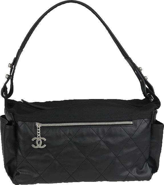 Chanel Duffle Paris Biarritz Quilted Coated Black