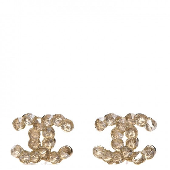 Chanel CC Earrings Crystal Poured Glass Light Gold