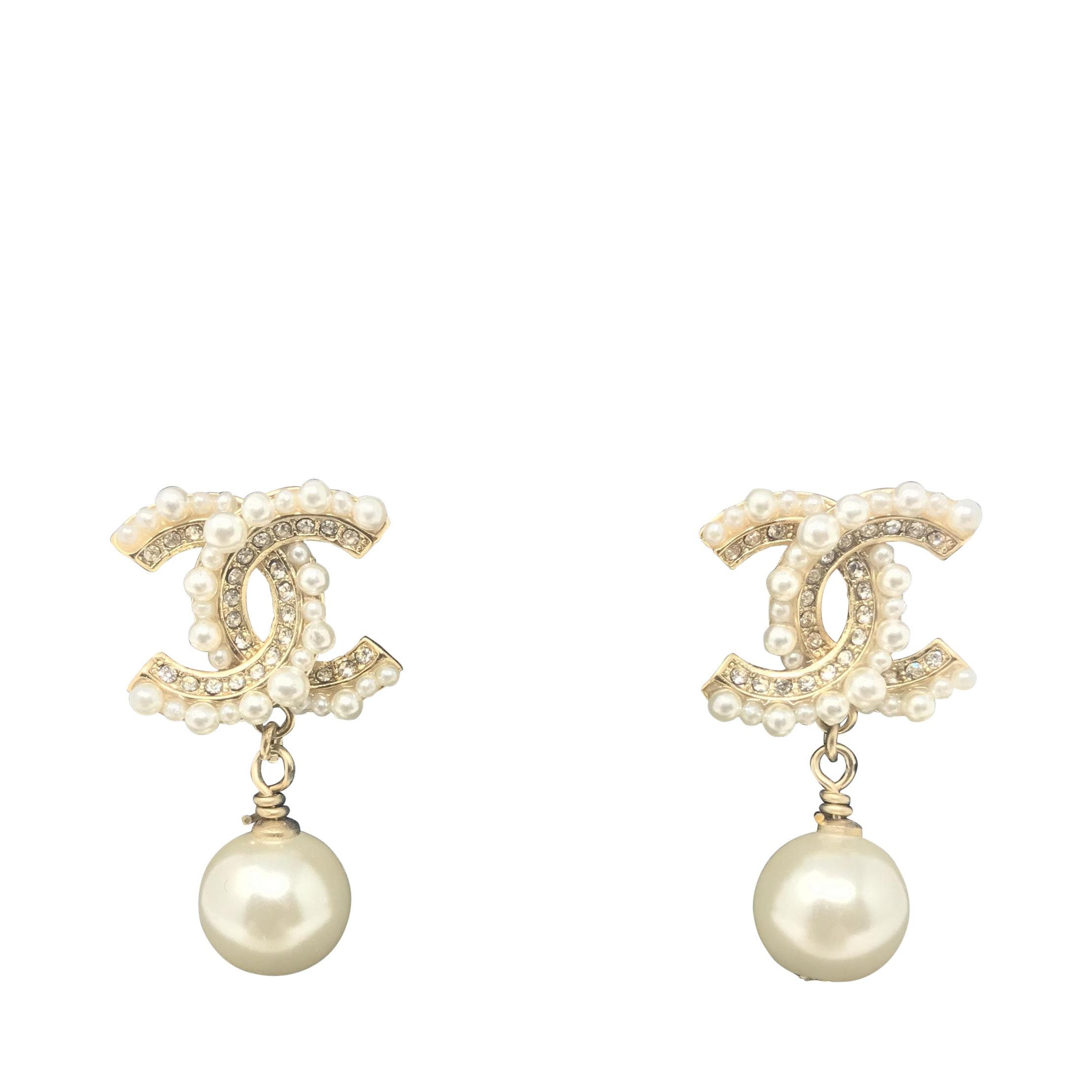 Chanel Faux Pearl Drop CC Earrings Gold