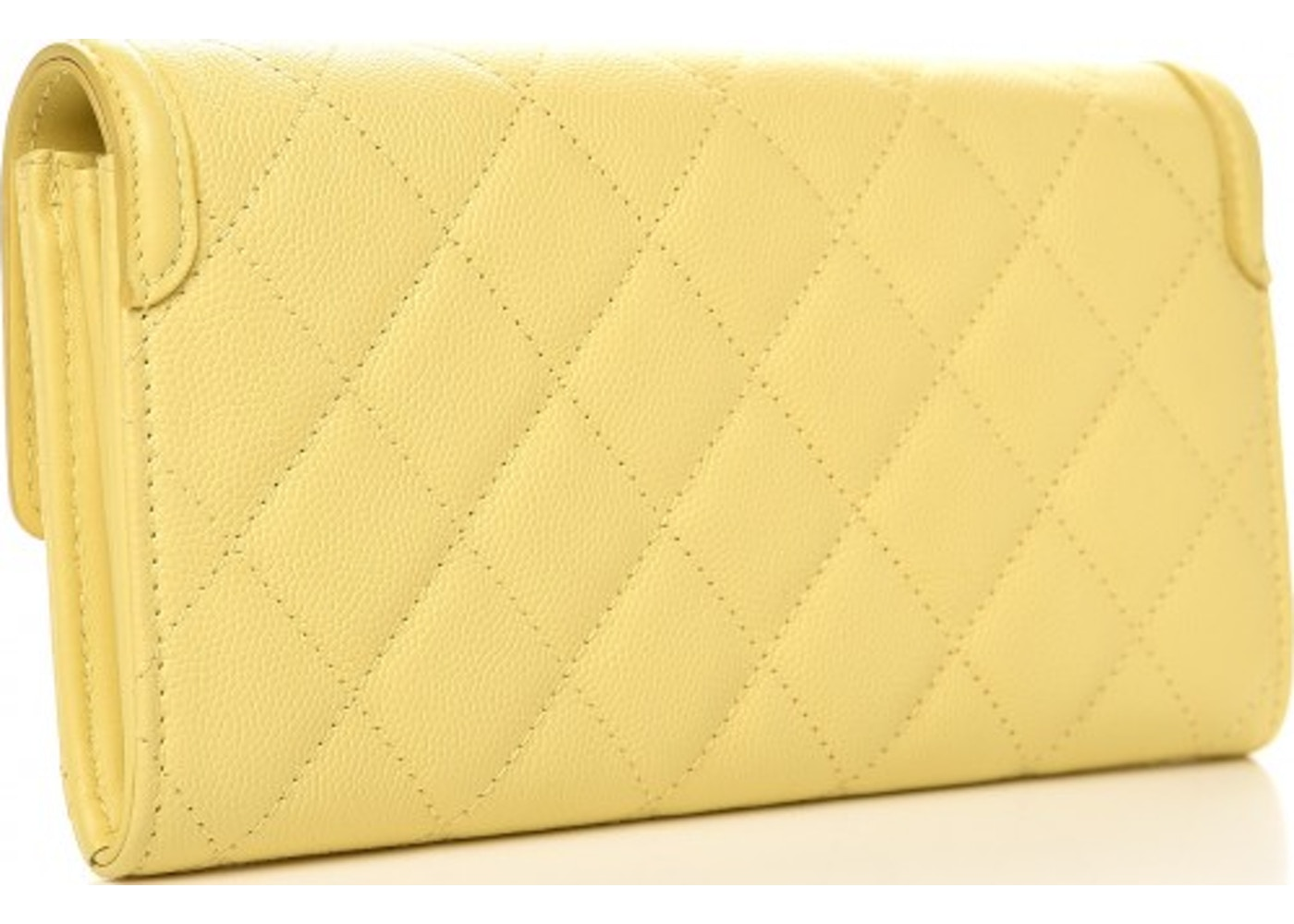 7c91458b1b1b Chanel Filigree Flap Wallet Quilted Diamond Small Yellow
